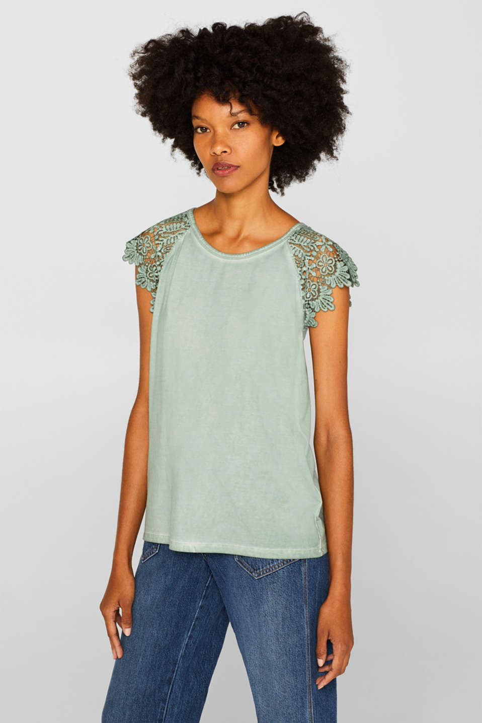 Esprit - Stretch top with lace sleeves