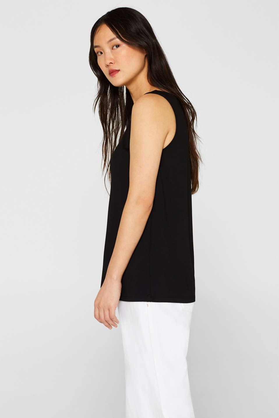 Comfortable basic top with a V-neckline, BLACK, detail image number 4