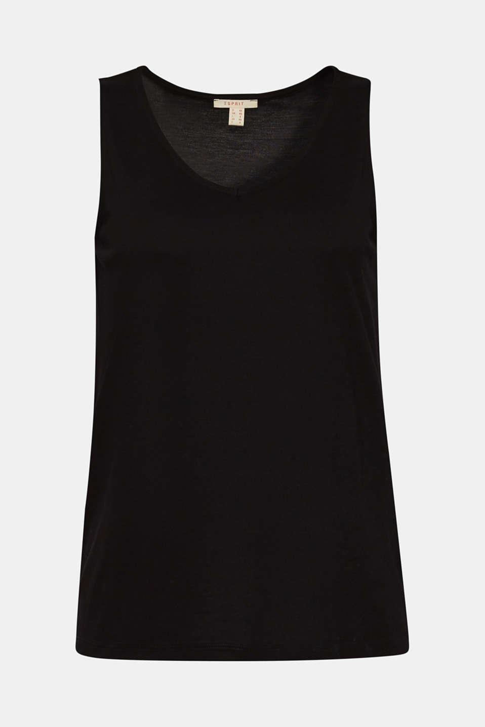 Comfortable basic top with a V-neckline, BLACK, detail image number 6