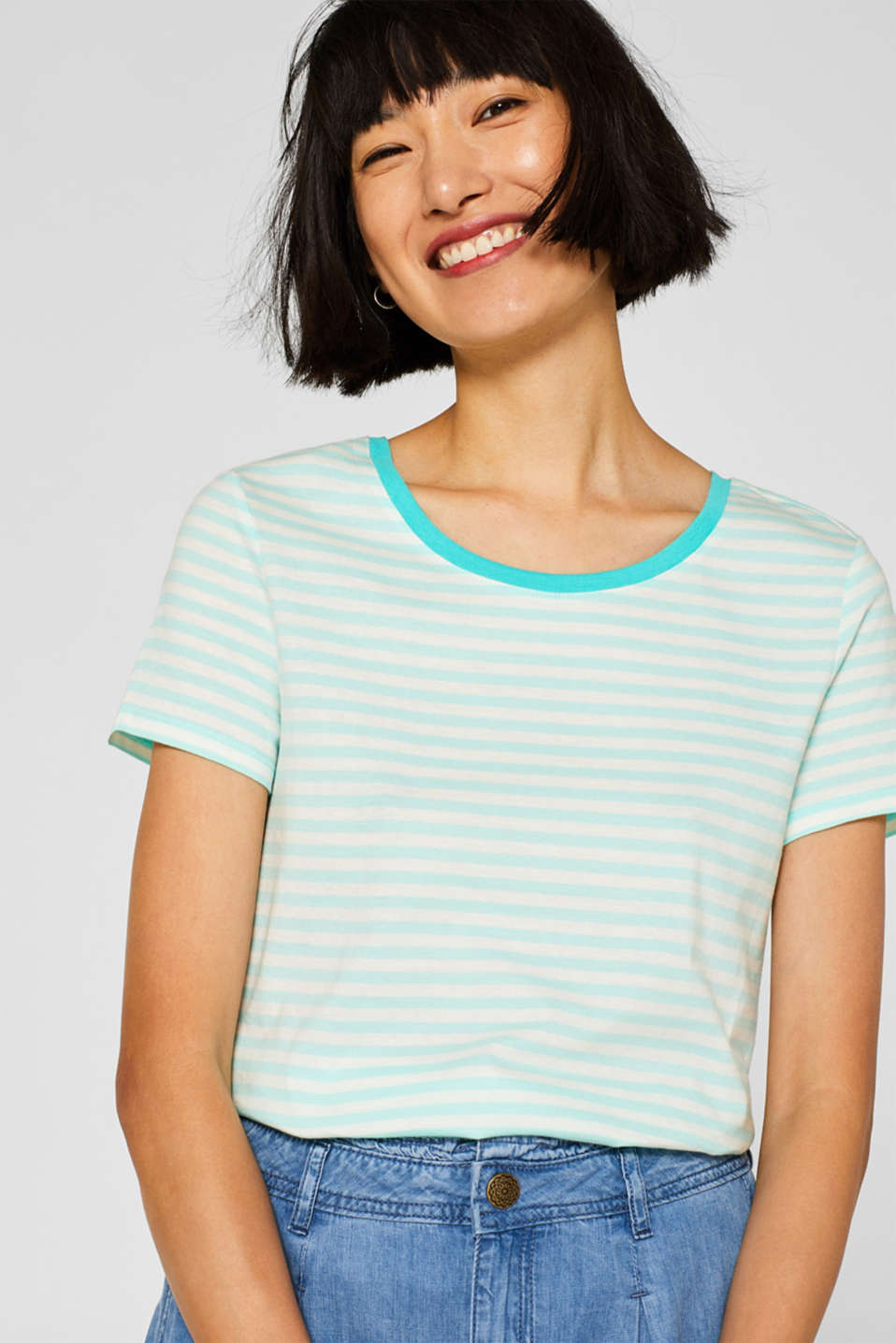 Striped T-shirt with a contrasting trim, 100% cotton, AQUA GREEN, detail image number 0