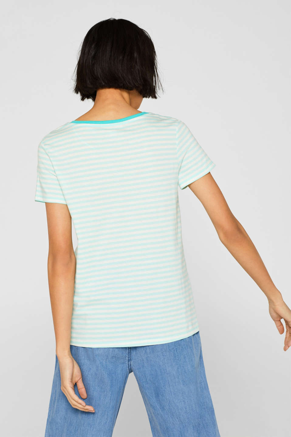 Striped T-shirt with a contrasting trim, 100% cotton, AQUA GREEN, detail image number 3