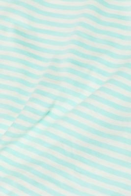 Striped T-shirt with a contrasting trim, 100% cotton, AQUA GREEN, detail
