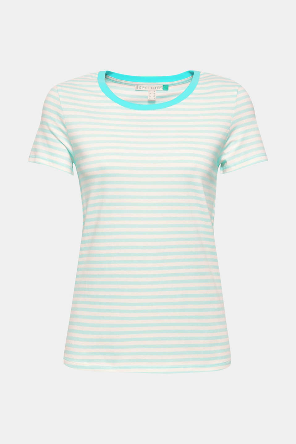 Striped T-shirt with a contrasting trim, 100% cotton, AQUA GREEN, detail image number 5