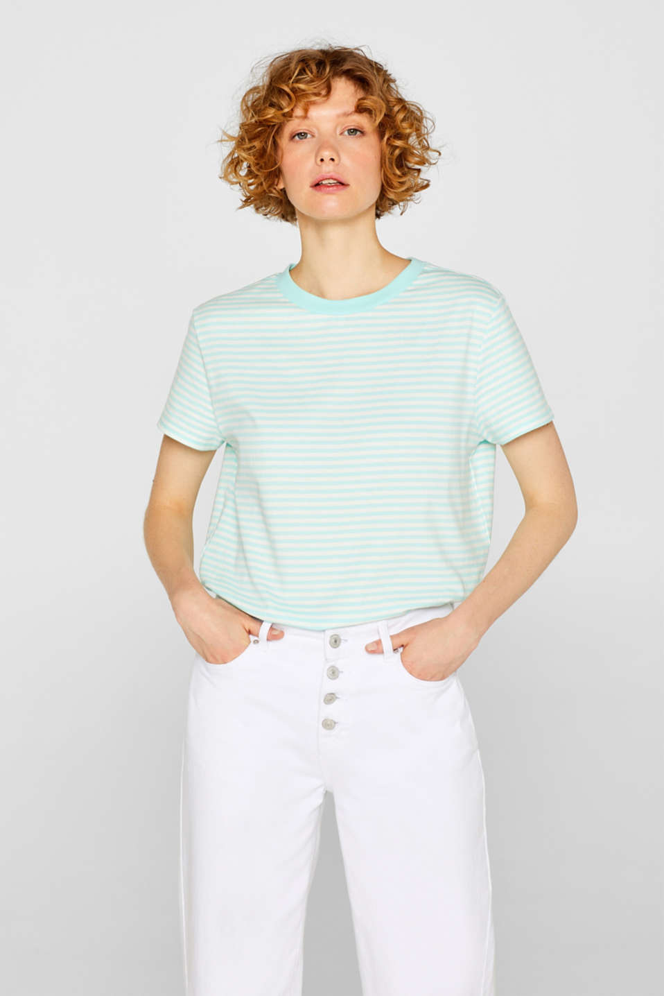 Top with a striped pattern, 100% cotton, AQUA GREEN 4, detail image number 0
