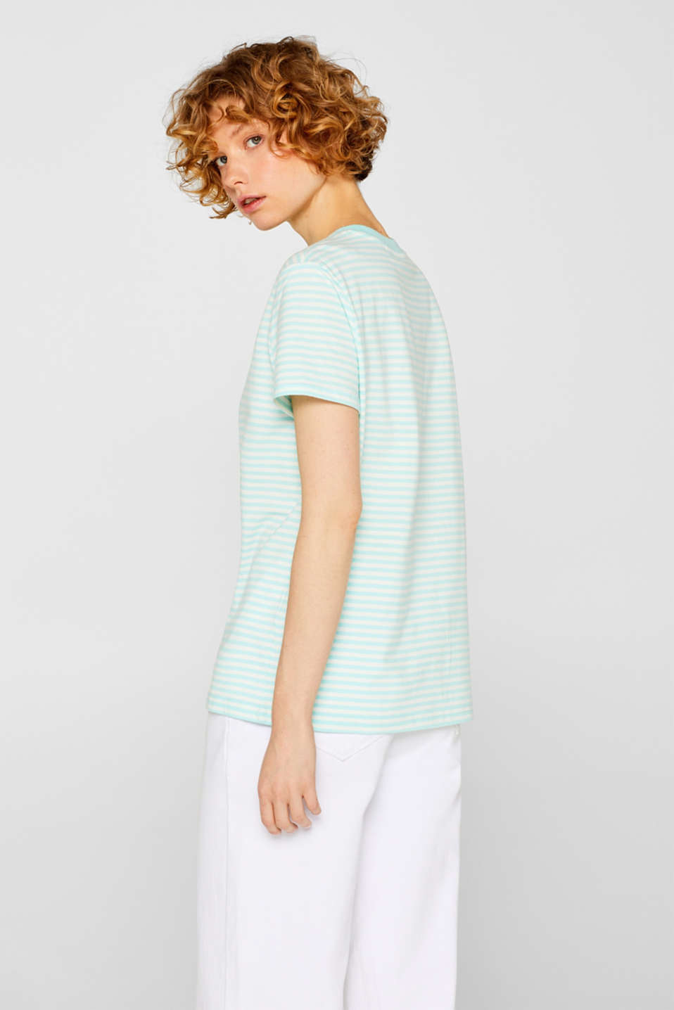 Top with a striped pattern, 100% cotton, AQUA GREEN 4, detail image number 3