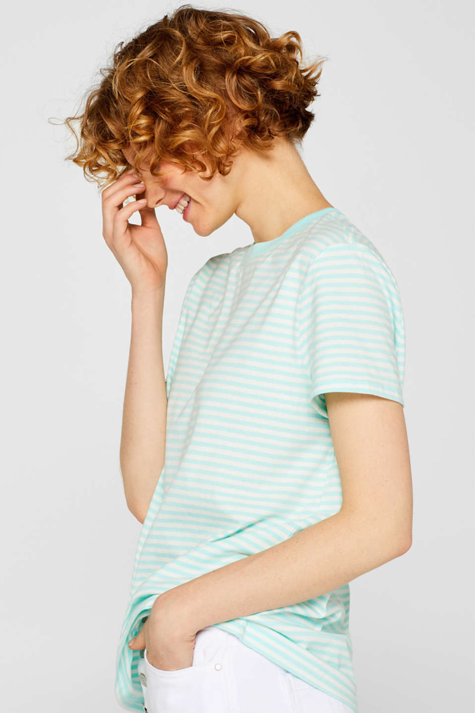 Top with a striped pattern, 100% cotton, AQUA GREEN 4, detail image number 5