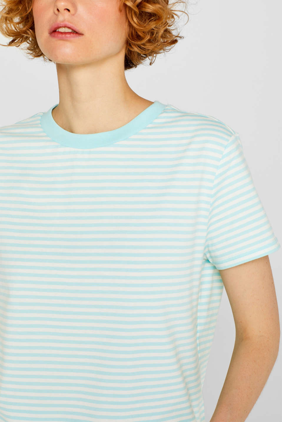 Top with a striped pattern, 100% cotton, AQUA GREEN 4, detail image number 2