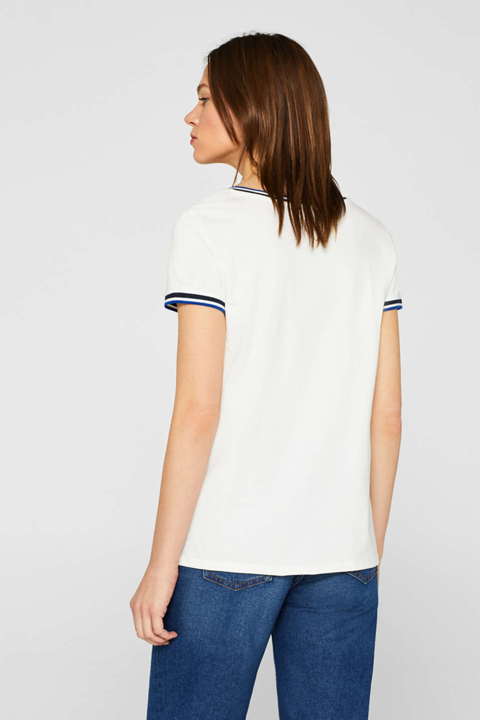 T-shirt with striped trims, 100% cotton, OFF WHITE, detail image number 3