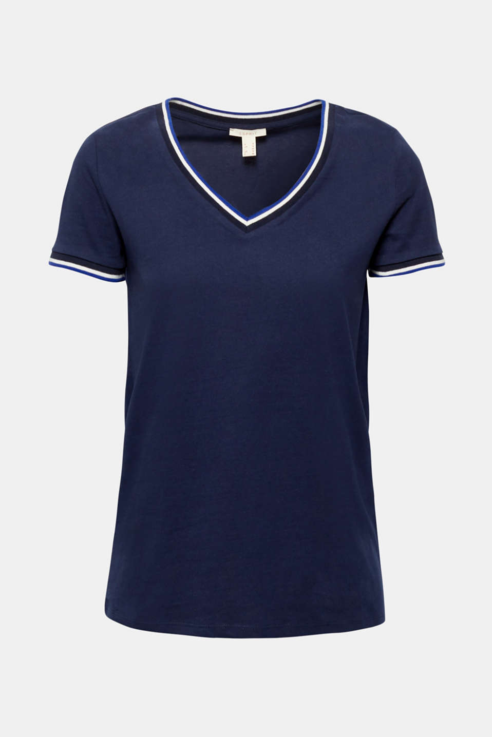 T-shirt with striped trims, 100% cotton, NAVY, detail image number 6