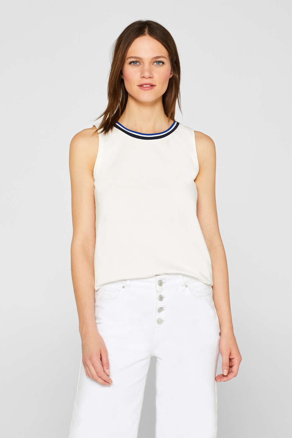 Top with striped trim, 100% cotton, OFF WHITE, detail image number 0