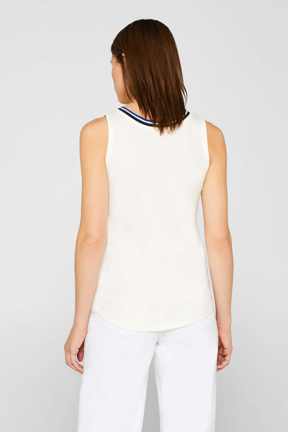 Top with striped trim, 100% cotton, OFF WHITE, detail image number 3
