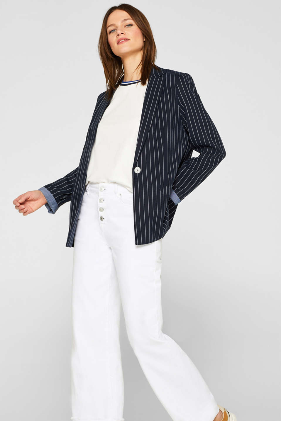 Top with striped trim, 100% cotton, OFF WHITE, detail image number 1