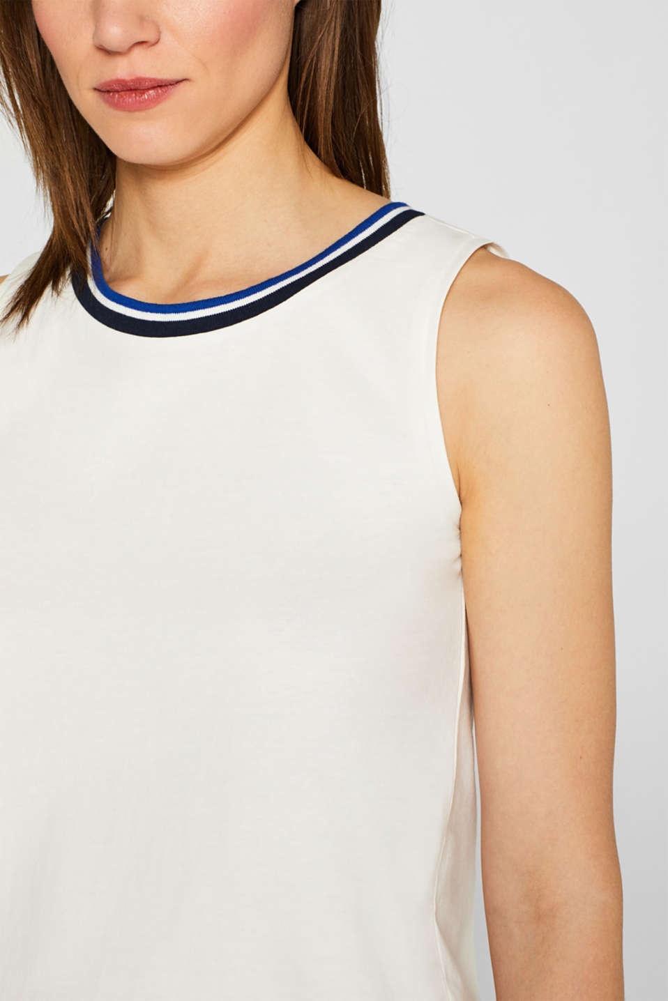 Top with striped trim, 100% cotton, OFF WHITE, detail image number 2