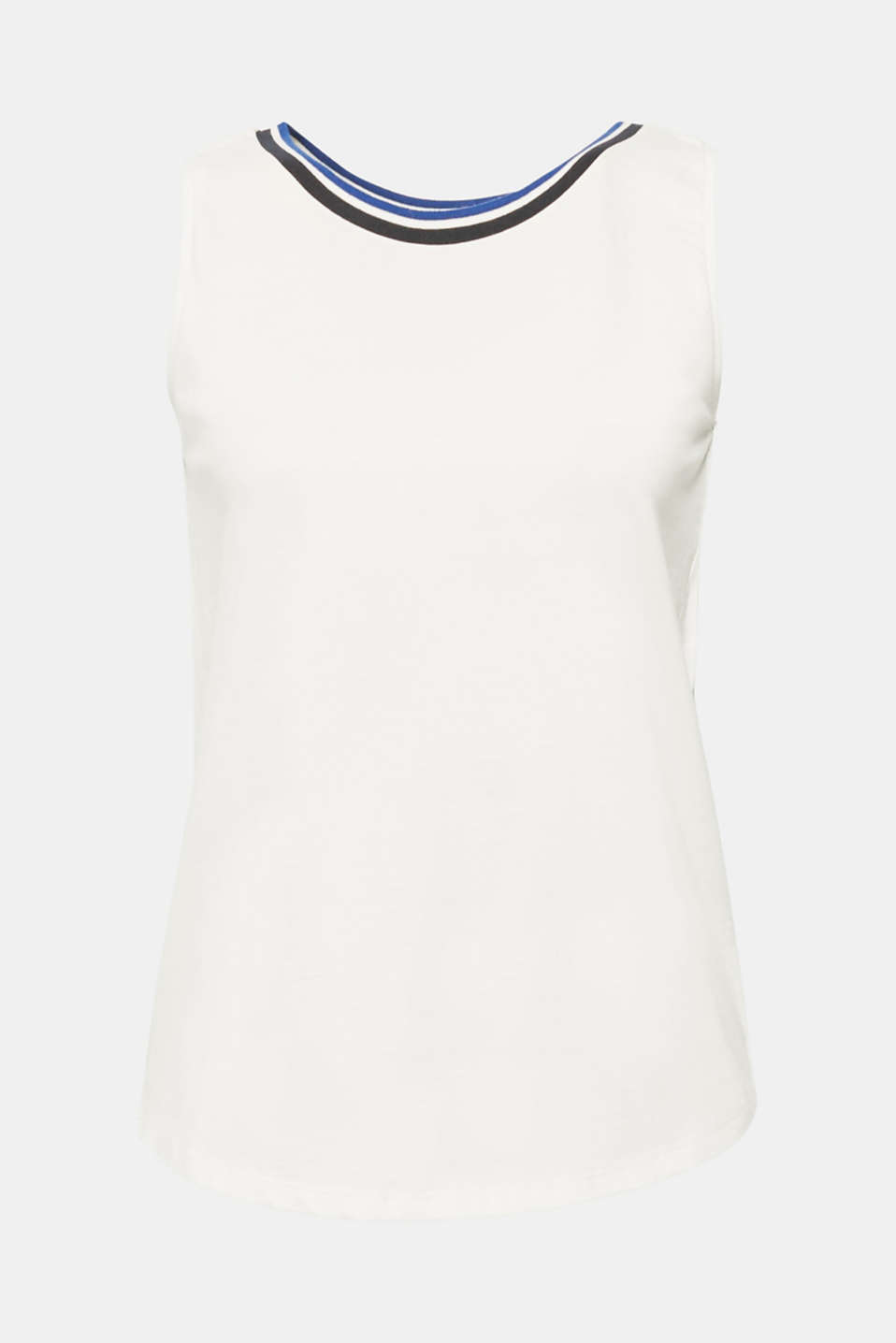 Top with striped trim, 100% cotton, OFF WHITE, detail image number 5