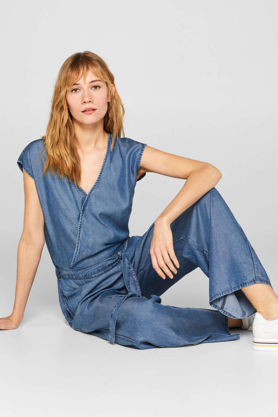 Esprit - Denim-effect jumpsuit in 100% lyocell