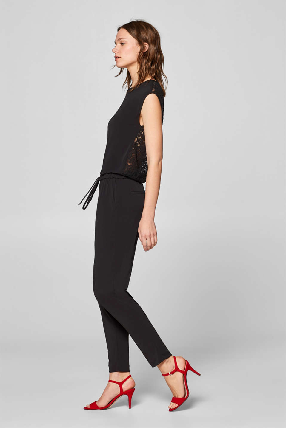 Esprit - Stretch jumpsuit with lace back