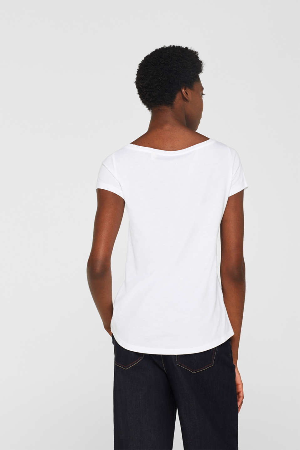 Double pack of bateau neck tees, WHITE, detail image number 3