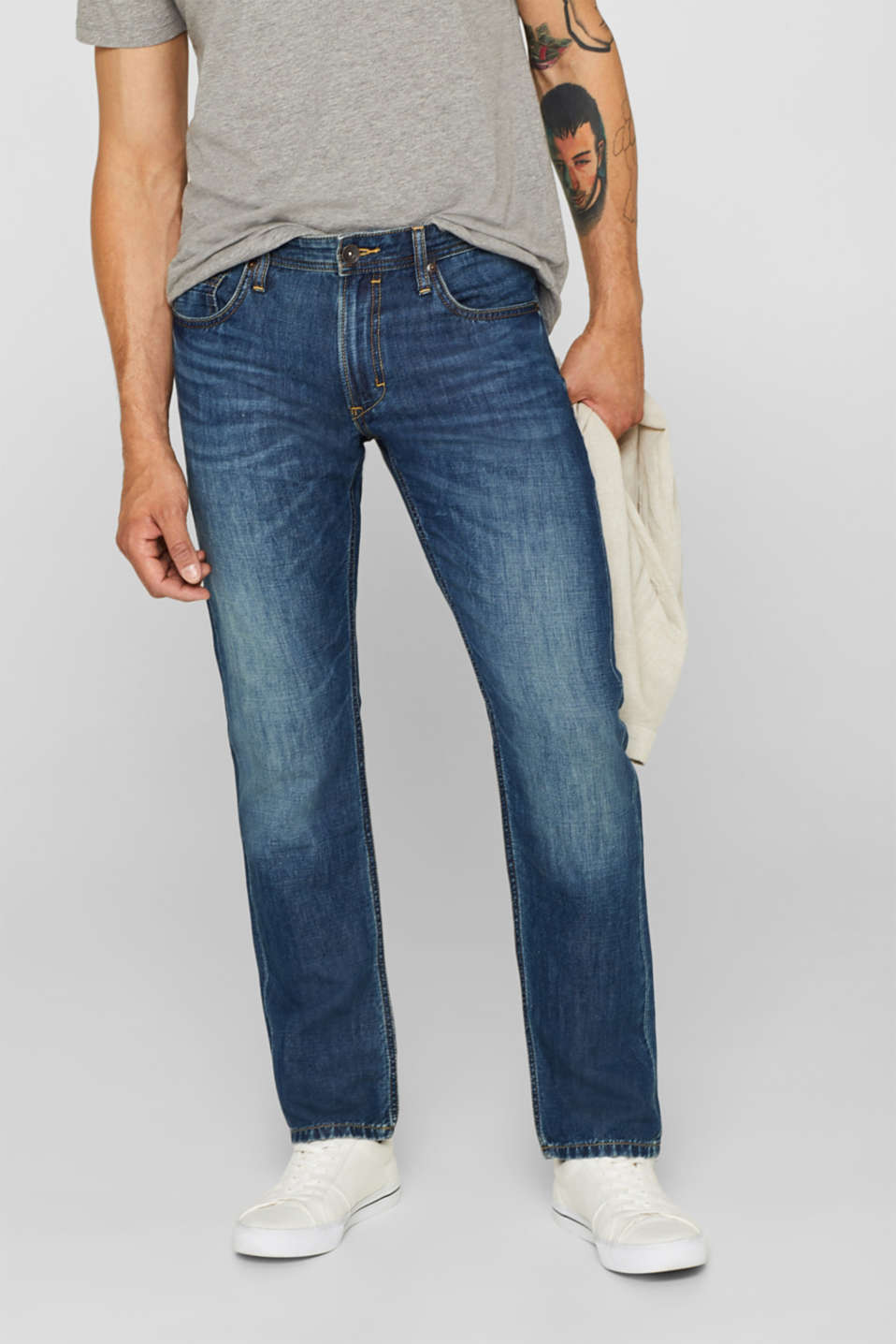Esprit - Met linnen: jeans met washed-out effect