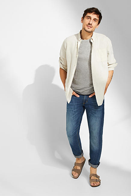 66362b58658 Linen blend  Jeans with a washed-out effect