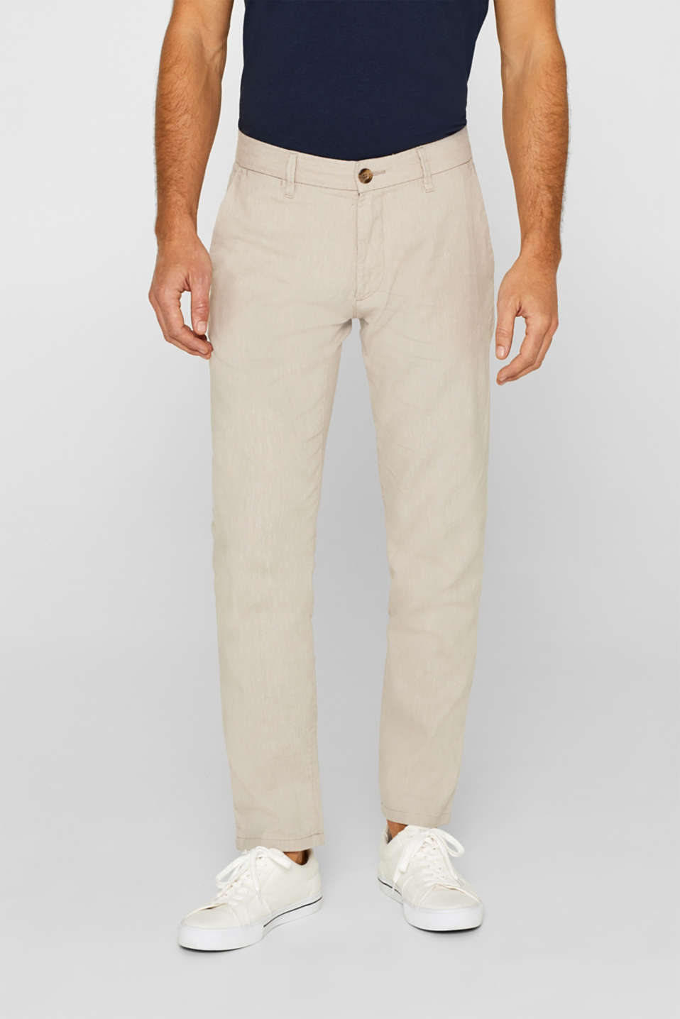 Esprit - Linen blend: Trousers with stretch for comfort