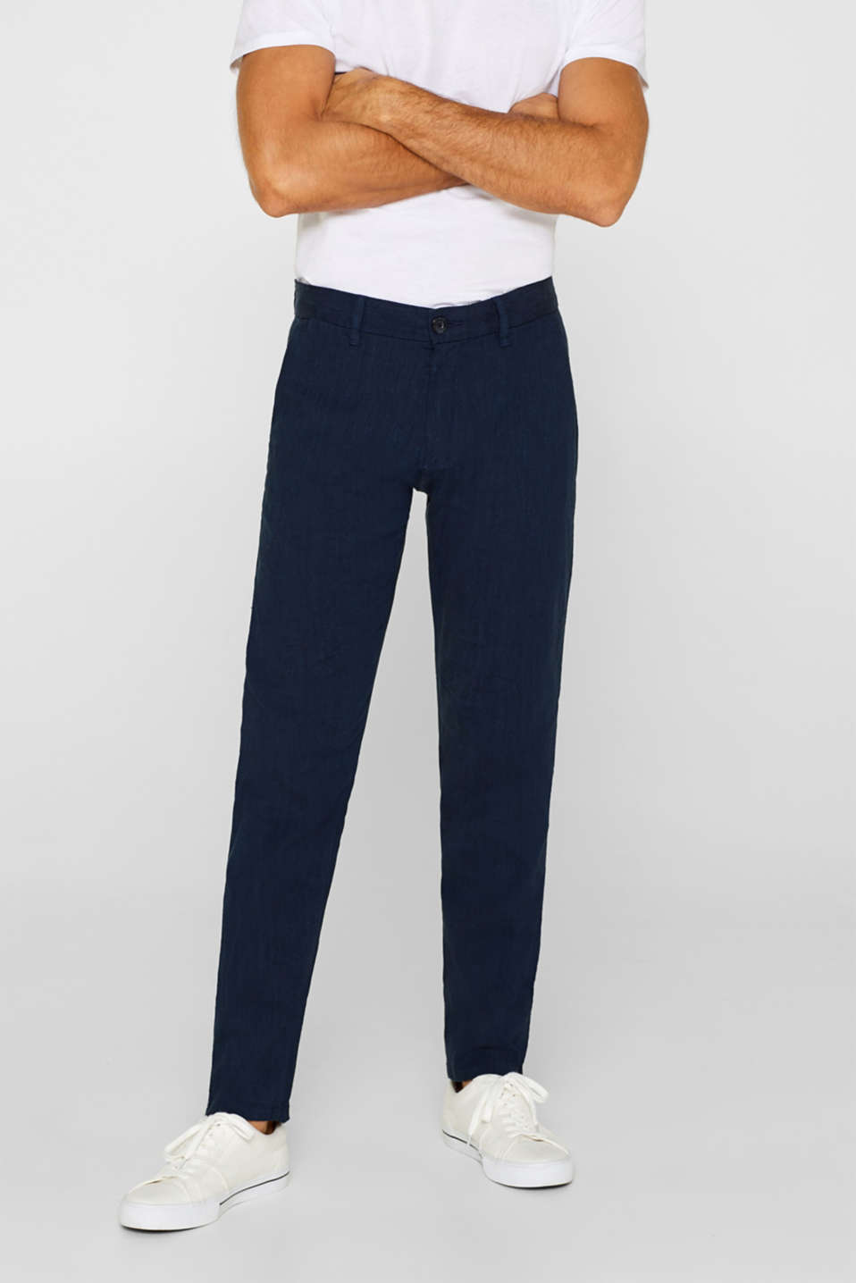 Linen blend: Trousers with stretch for comfort, NAVY, detail image number 0