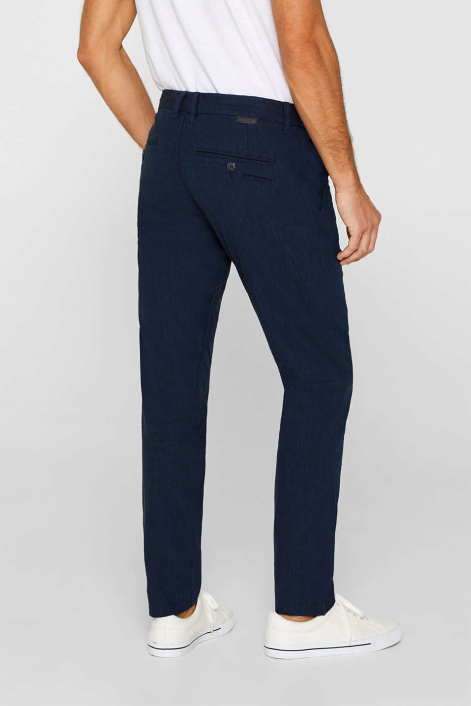 Linen blend: Trousers with stretch for comfort, NAVY, detail image number 3