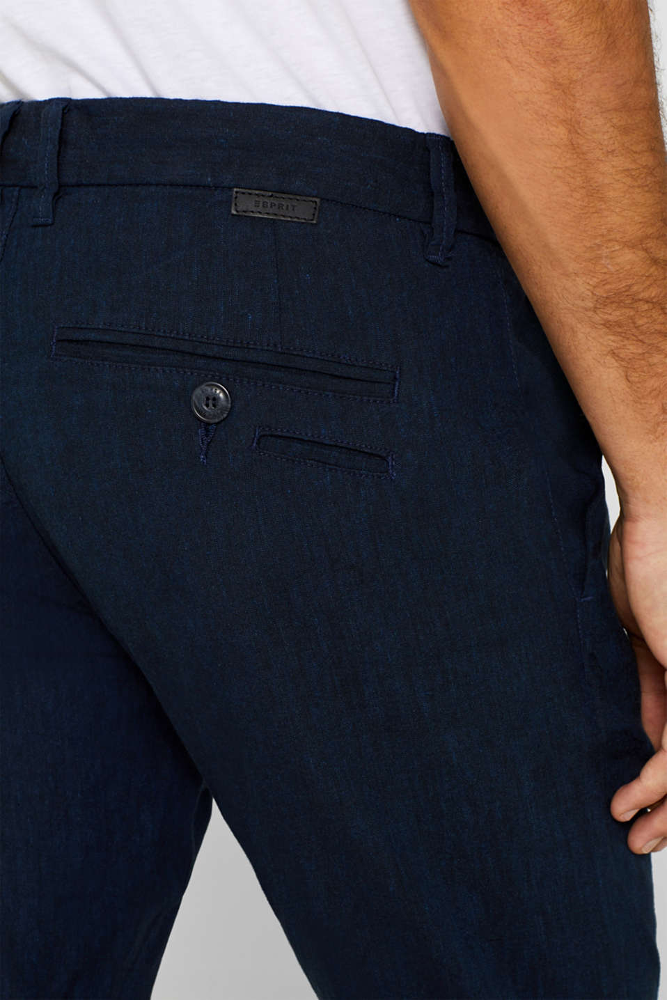 Linen blend: Trousers with stretch for comfort, NAVY, detail image number 2