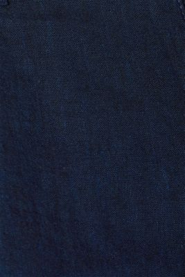 Linen blend: Trousers with stretch for comfort, NAVY, detail