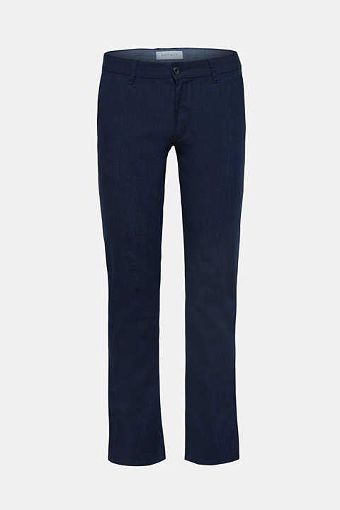 Linen blend: Trousers with stretch for comfort