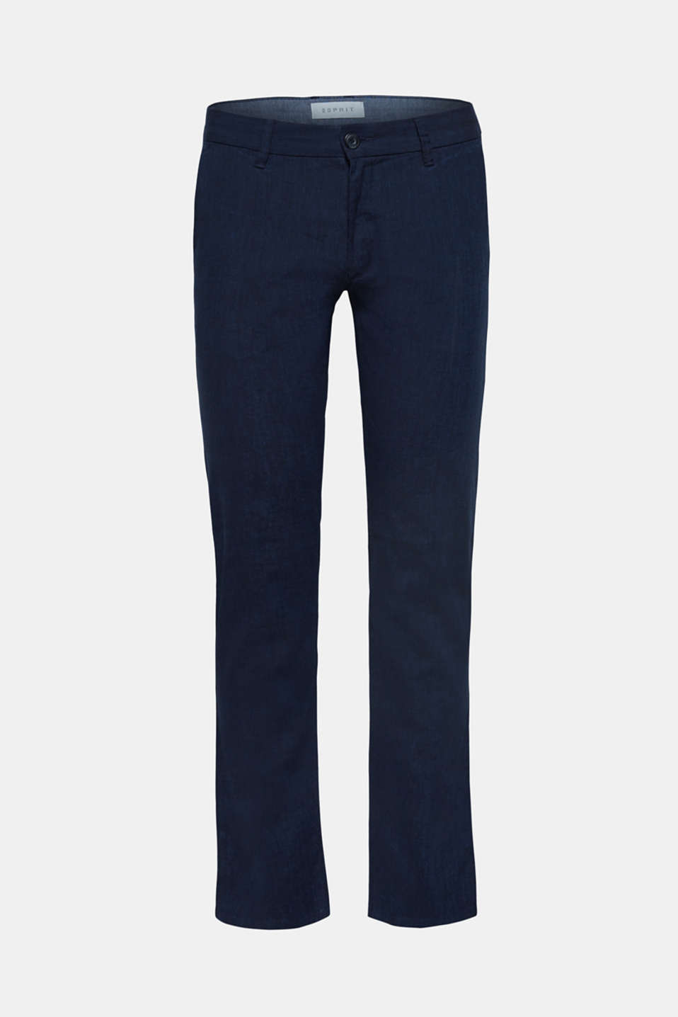 Linen blend: Trousers with stretch for comfort, NAVY, detail image number 5
