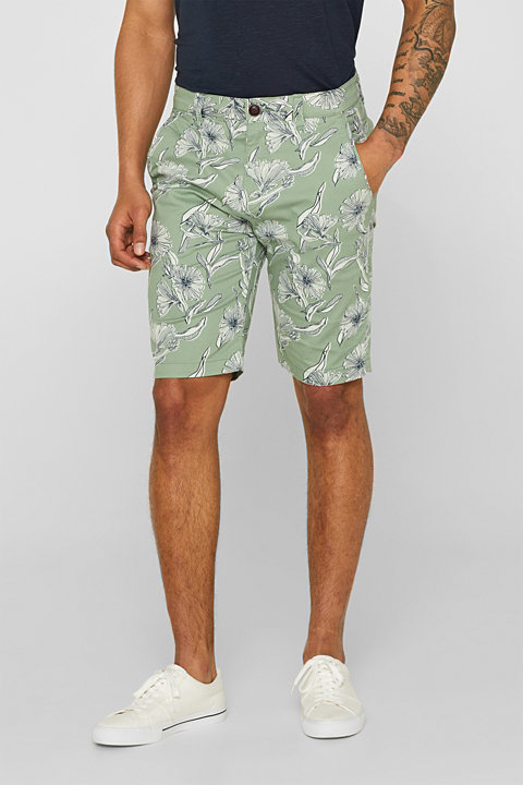 Shorts with a tropical print, in stretch cotton