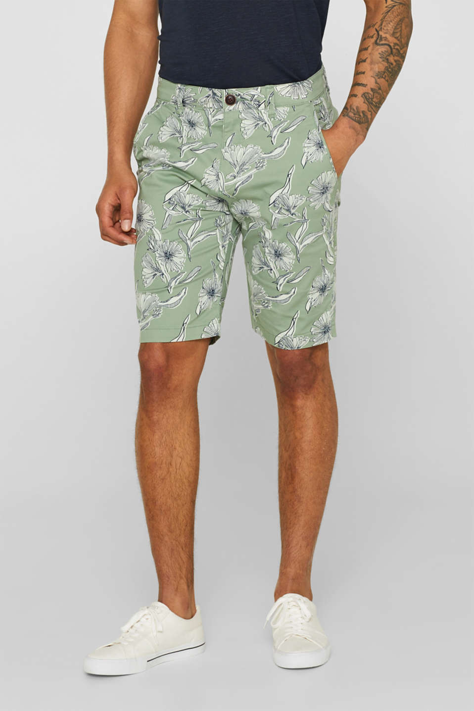 Esprit - Shorts with a tropical print, in stretch cotton