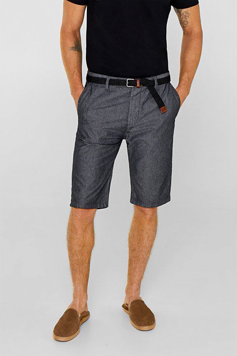 CHAMBRAY shorts with a belt, 100% cotton