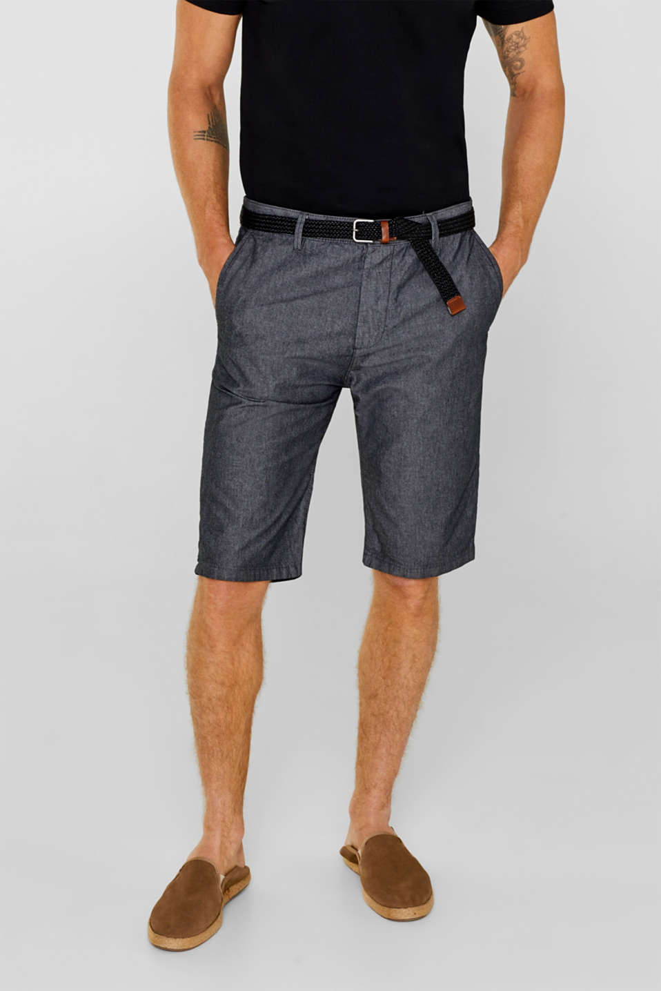 Esprit - CHAMBRAY shorts with a belt, 100% cotton