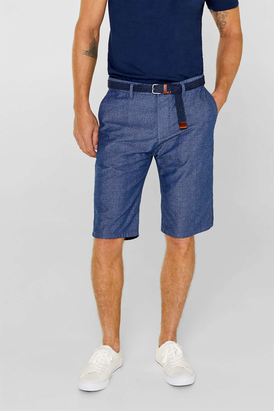 Esprit - Chambray-Shorts mit Allover-Print
