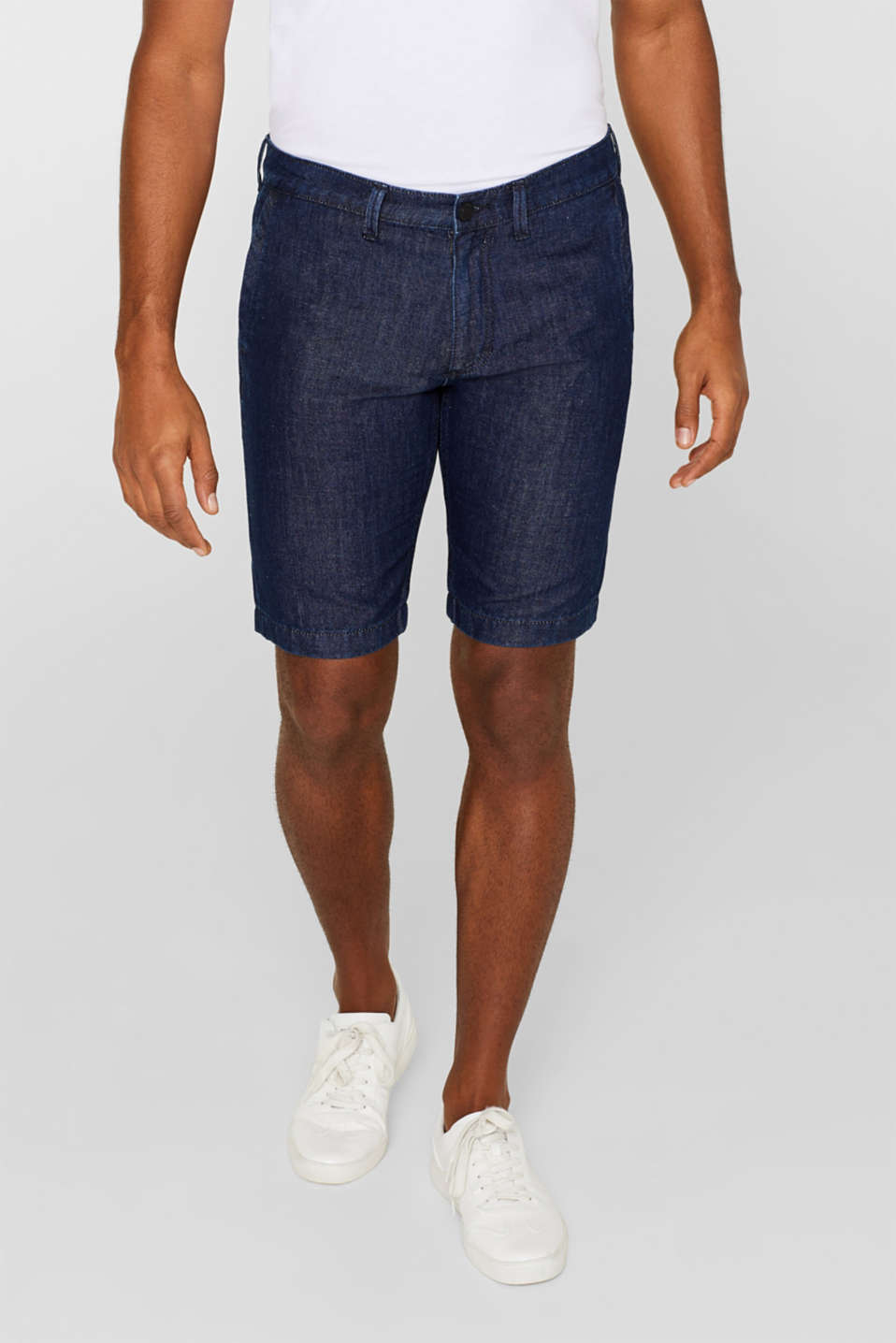 Esprit - Melange denim shorts containing linen