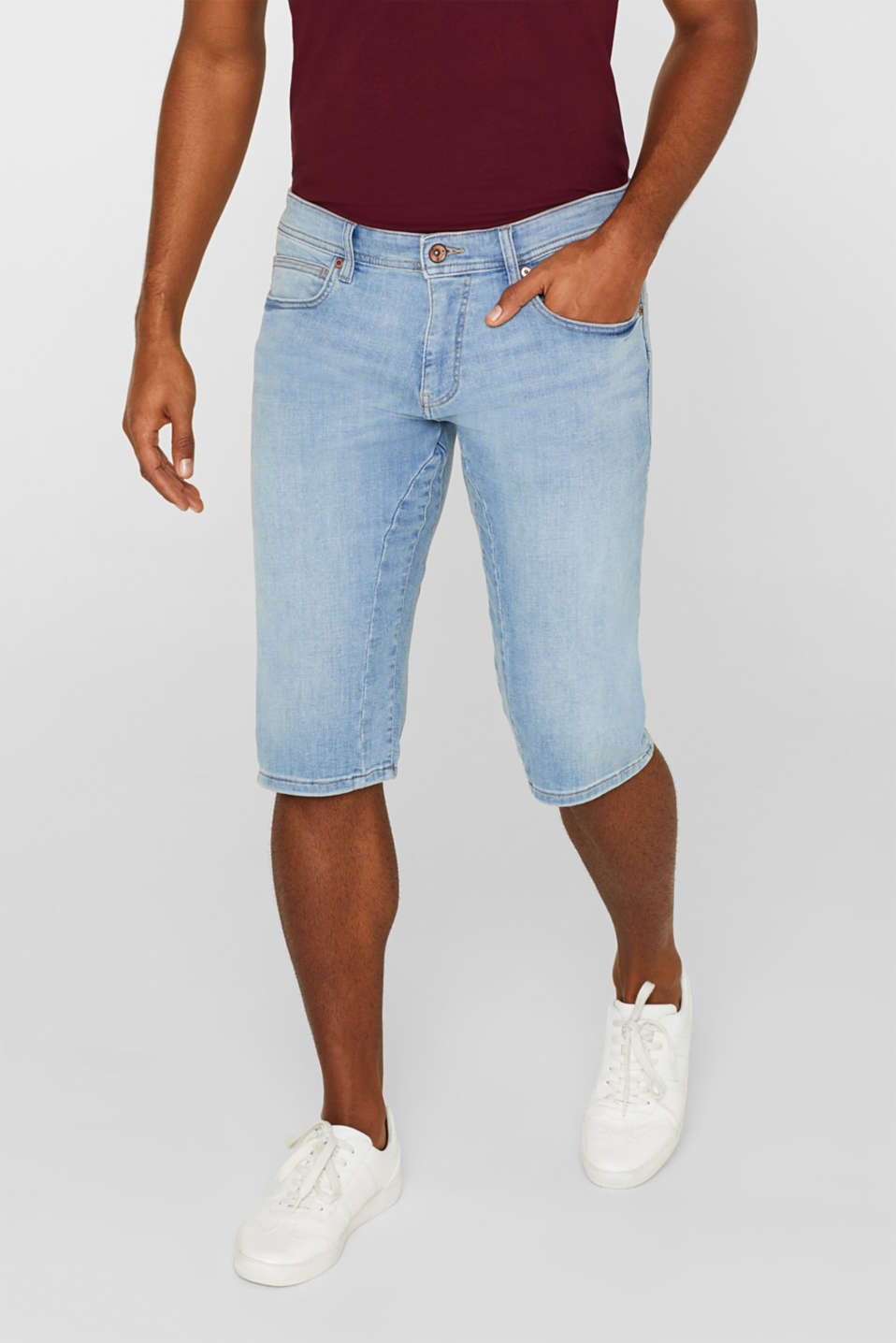 Esprit - Denim short met stretch en organic cotton