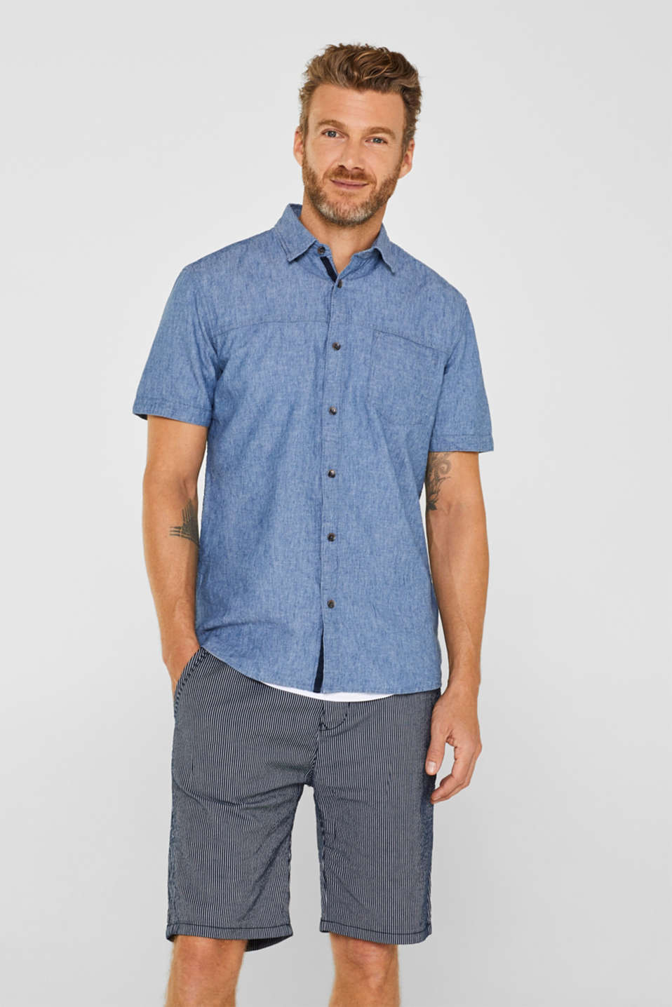 Shirts woven Regular fit, BLUE MEDIUM WASH, detail image number 0