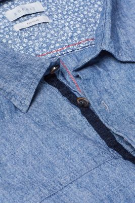 Linen blend: short-sleeved shirt with a breast pocket