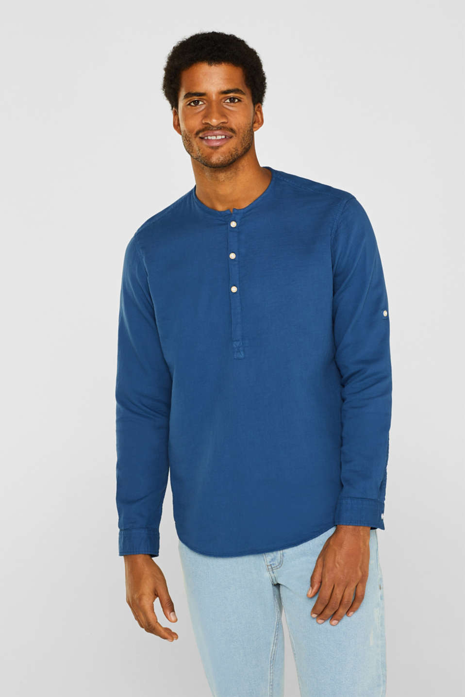 Esprit - Seersucker long sleeve top made of 100% cotton