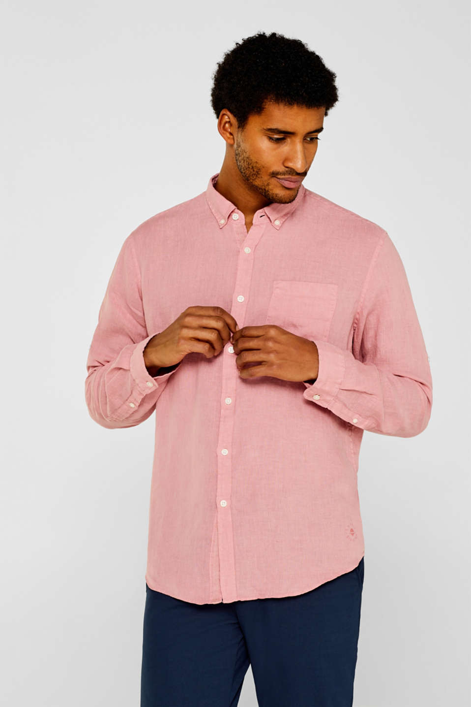 Esprit - 100% linen shirt with a button-down collar