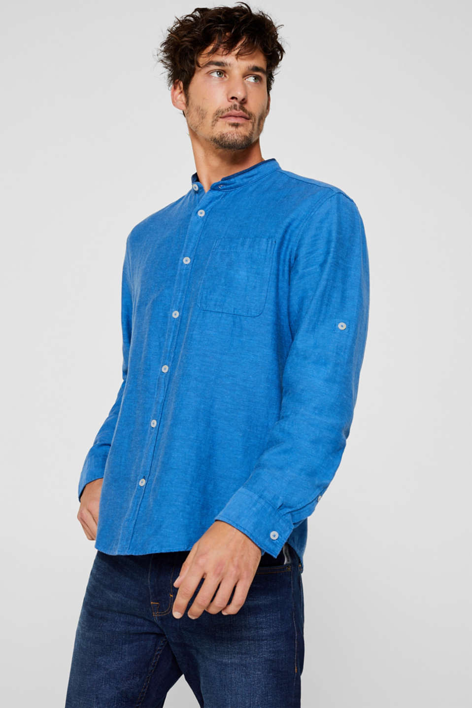 Linen blend: shirt with a stand-up collar, BLUE, detail image number 0