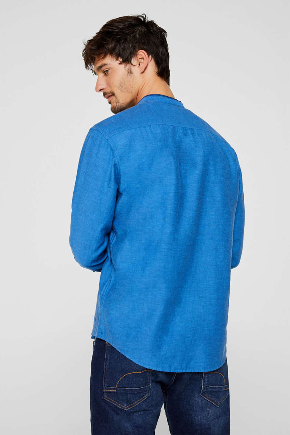 Linen blend: shirt with a stand-up collar, BLUE, detail image number 3