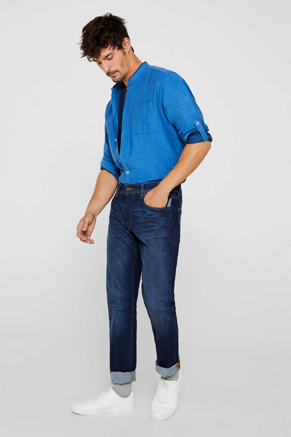 Linen blend: shirt with a stand-up collar, BLUE, detail image number 1