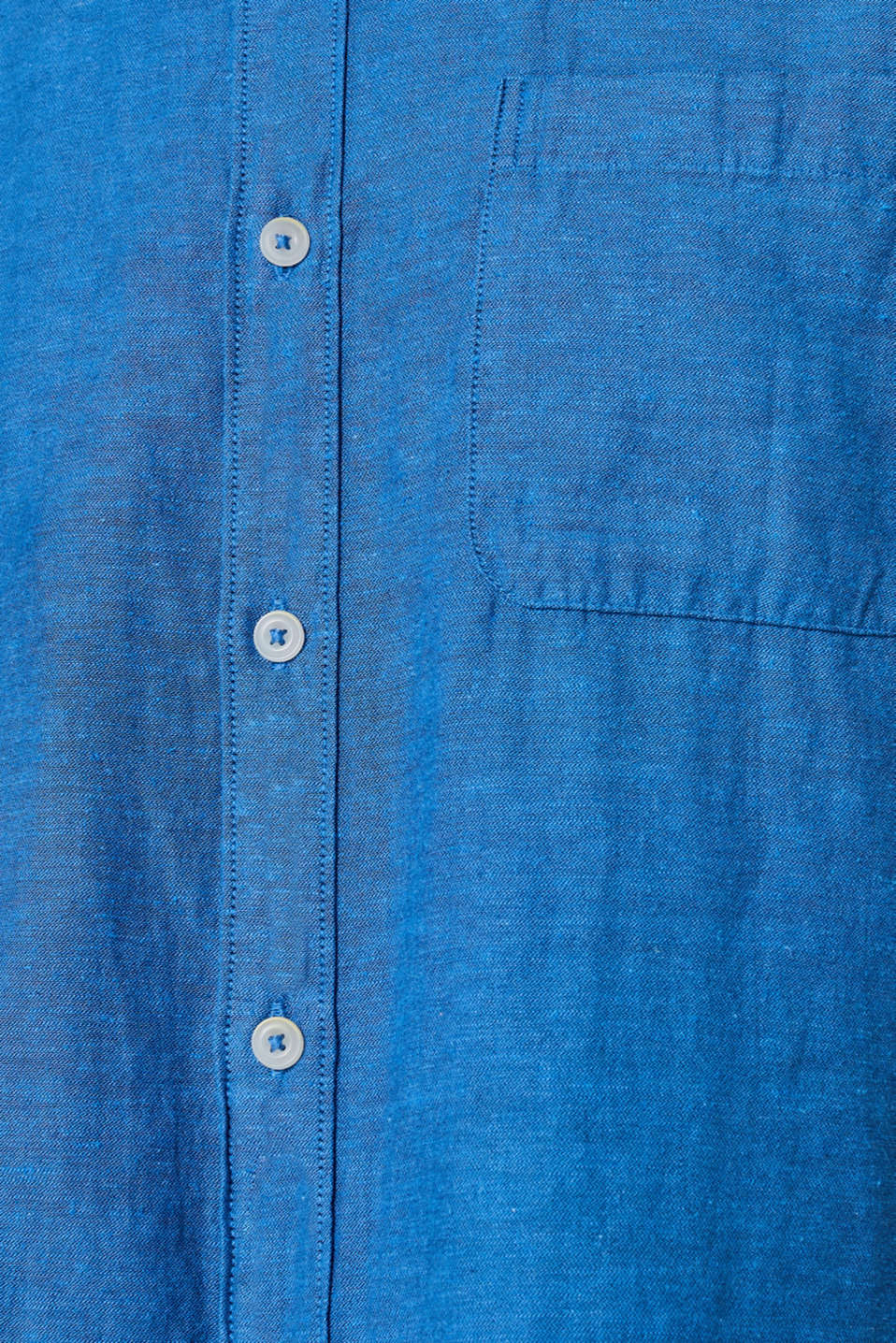 Linen blend: shirt with a stand-up collar, BLUE, detail image number 4