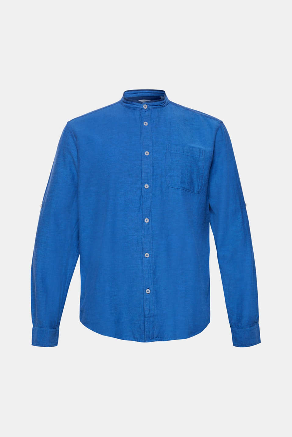 Linen blend: shirt with a stand-up collar, BLUE, detail image number 6