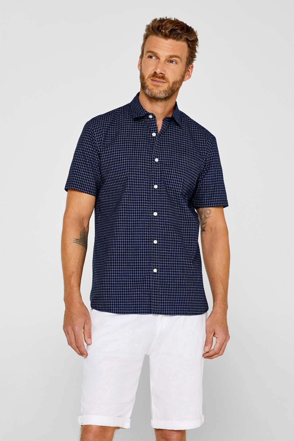 Esprit - Short sleeve shirt with an indigo dye effect, 100% cotton