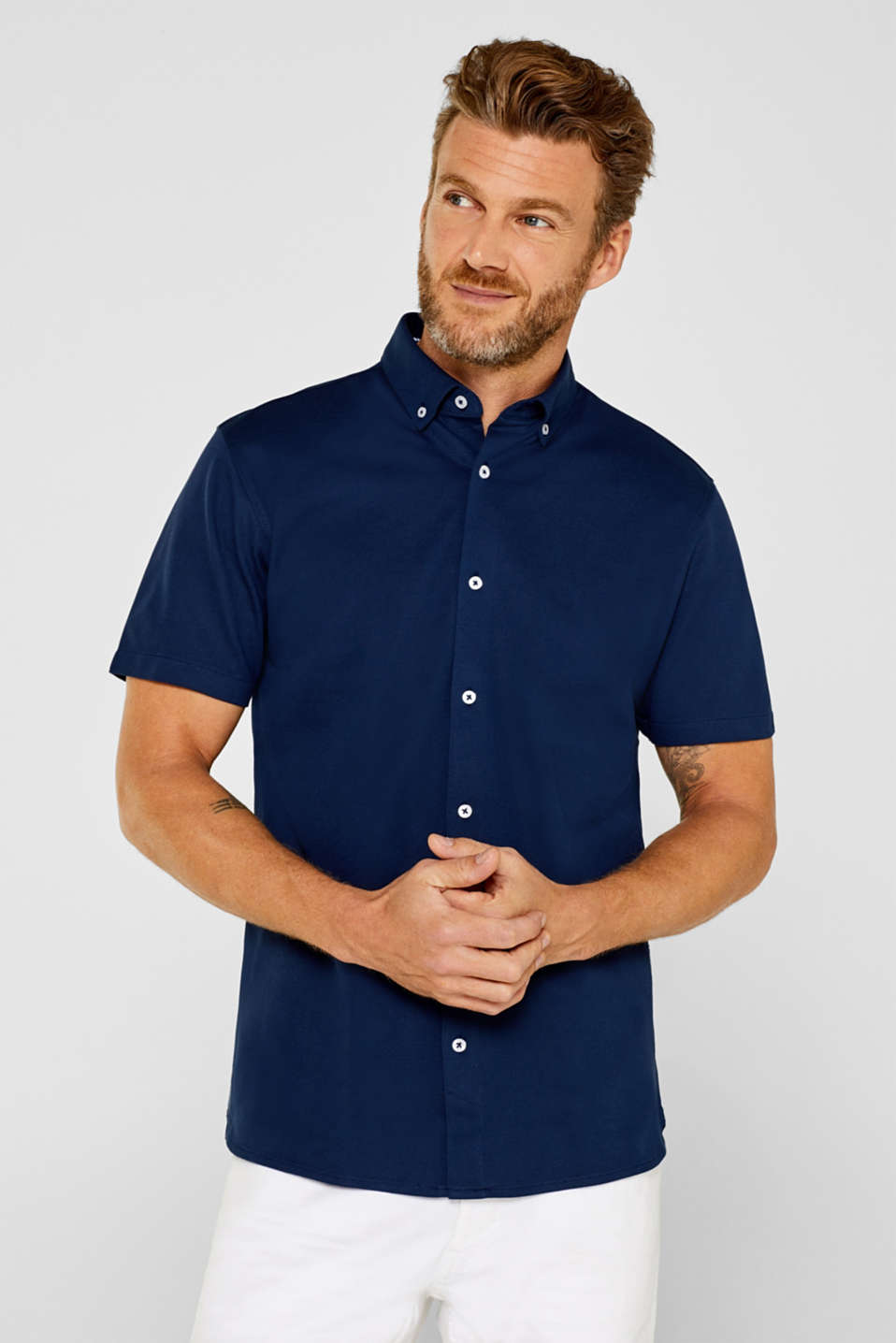 Esprit - Short sleeve shirt in cotton piqué