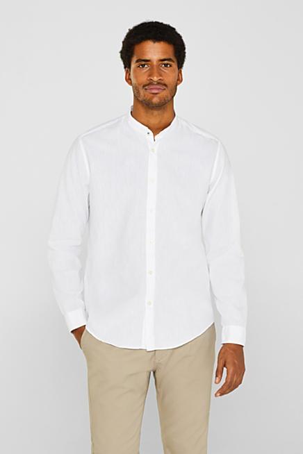 509a97c940f2d Con lino  camisa con cuello mao y COOLMAX® · Blanco · Azul