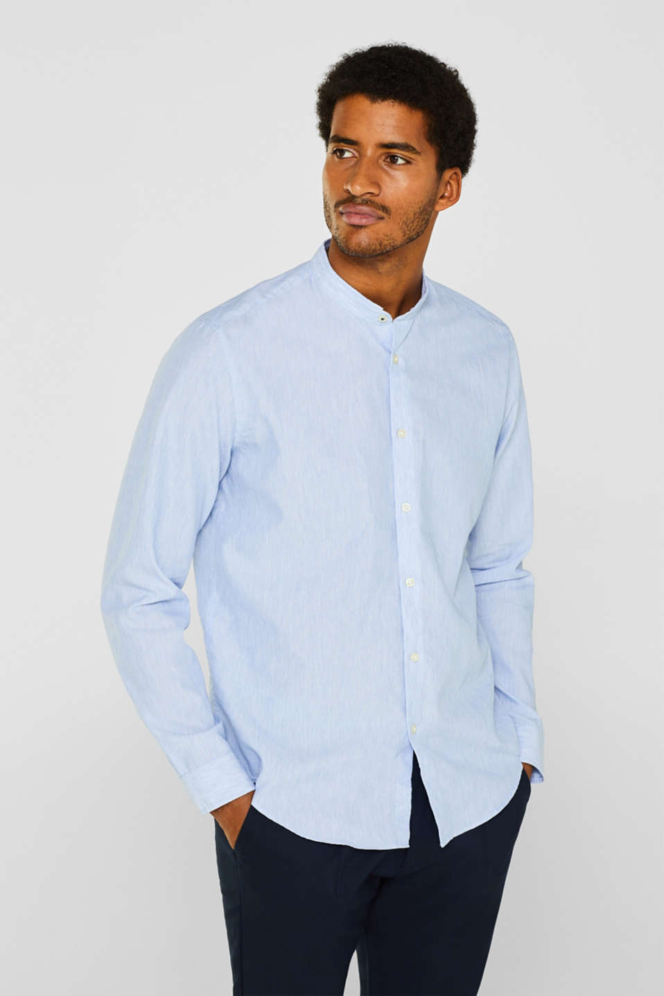 Linen blend: granddad collar shirt with COOLMAX®